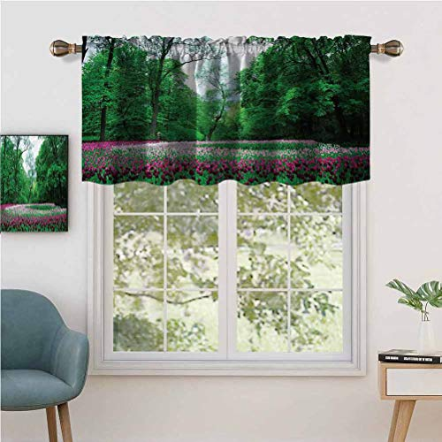 Hiiiman Fashion Design Valance Thermal Insulated Window Panels Ornate Garden of Tulips, Set of 1, 52'x18' for Kids Room