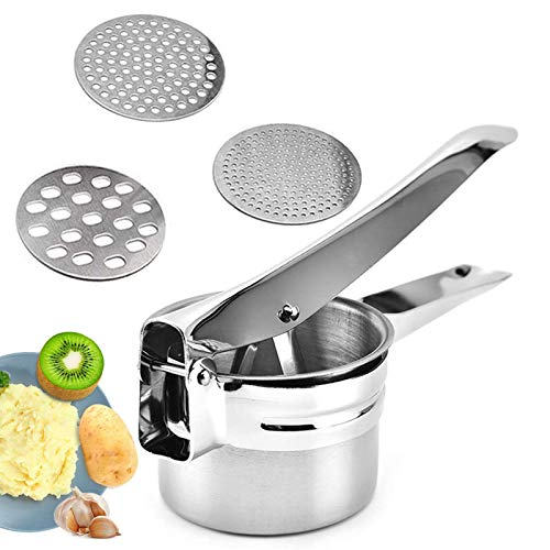 Kitchen Potato Ricer Stainless Steel Fruit Press Multifunctional Mashers Manual Potato Press Masher Heavy Duty Food Press 3 in 1 Easy to Clean Ideal for Potato Fruits Vegetables Garlic