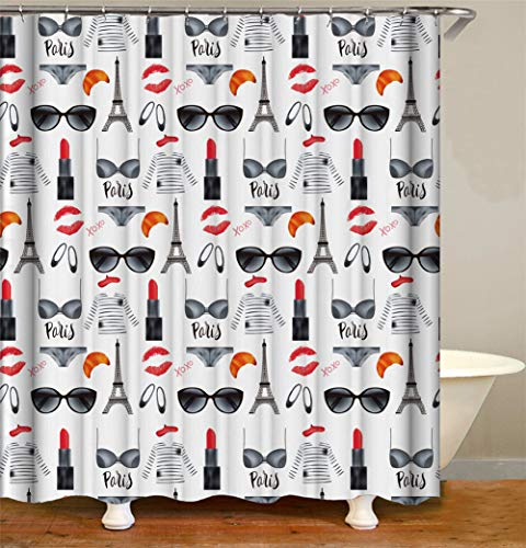 ZZZdz zonnebril lippenstift bikini. Huisdecoratie. Douchegordijn. 180 x 180 cm. 12 vrije haken. 3D Hd-druk. Rijke patronen.