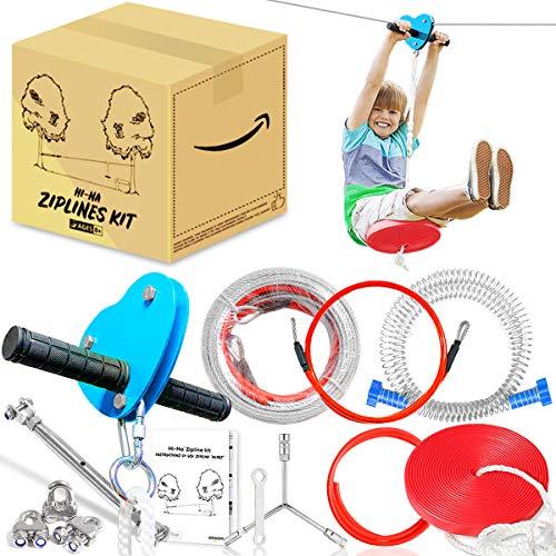 Hi-Na 50ft Zipline Kits for Backyard with Brake Zipline with Trolley Zipline for Backyard for Kids Backyard Zipline Kit with Seat Zipline Kit Zipline Kits for Backyard 50ft Zip Line Kit