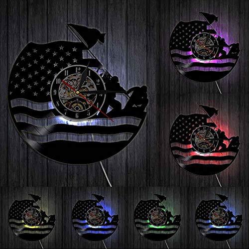Reloj de pared de vinilo del ejército de los Estados Unidos Guardia Costera Bandera Americana Marina Marina Vintage Veterano Decorativo Reloj Militar Retiro Regalo Luces LED