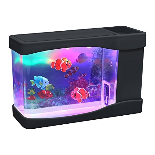 Playlearn Mini Artificial Fish Tank with Moving Fish – USB/Battery Powered – Fake Aquarium Toy Fish Tank with 3 Fake Fish