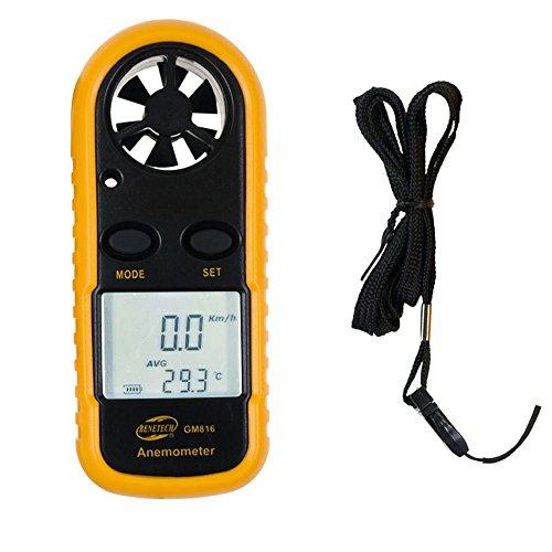 UTEBIT Anemometer Digitales Windmessgerät Kleines und Tragbares Hand Windmesser mit und Kordel für Windsurfen, Segeln, Surfen, Angeln usw.