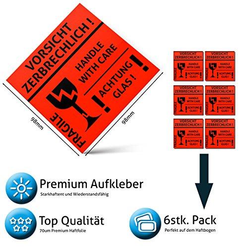 Vorsicht zerbrechlich Aufkleber - Folie – Sticker - Vorsicht Glas – Fragile - handle with care - Achtung Bruchgefahr Warnaufkleber, Signaletiketten, Versandaufkleber, Paketaufkleber