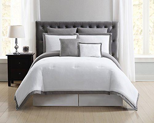 Truly Soft Everyday Hotel Border Duvet Set 7 Piece, King, White/Grey