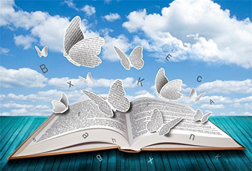 CSFOTO 7x5ft Background for Open Book with Butterflies Letters Blue Sky Photography Backdrop Blue Wood Floor Study Knowledge Power Learn Magic White Flaky Photo Studio Props Polyester Wallpaper