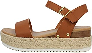 Ecolley Cool Lightweight Cute Sandals Women Casual Ankle Strap Open Toe Espadrille Platform Size 39