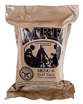 Beef Taco MRE Meal - Genuine US Military Surplus Inspection Date 2020 and Up