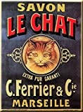 ZMKDLL 12'x16' Trendy Aluminum Metal Wall Sign,Savon Chat Noir Marseille Metal Sign Gift for Cat Lover Pet Owner Friends