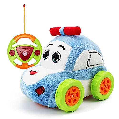 Pluche afstandsbediening speelgoed auto voor kinderen ouder dan 2 jaar, karikatuurminispielauto met afstandsbediening op het stuur, stootvast en anti-val, afneembaar, gemakkelijk te reinigen 18,5 x 14 x 13,2 cm blauw