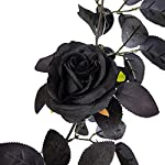 tita-dong 5.9ft artifical red rose garland,halloween hanging black leaves rose vine ,black silk rose vine for halloween home wedding party