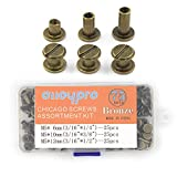 75 Sets Chicago Screws Assorted Kit 3 Sizes Bronze Leather Rivets 1/4 3/8 1/2 Screw Rivets Flat Fillister Book Binding Posts Nail Rivet Chicago Bolts for DIY Leather Craft Bookbinding (5 x 6,10,12)