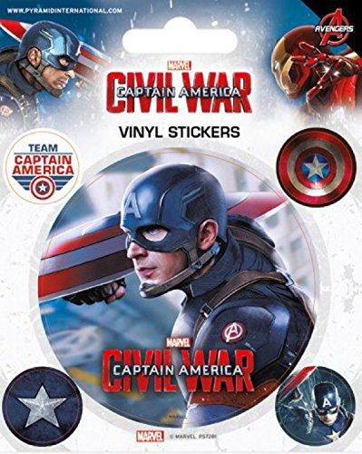 1art1 Captain America - Civil War, Captain America Poster-Sticker Tattoo Aufkleber 12 x 10 cm