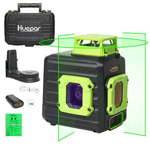 Huepar グリーン レーザー墨出し器 360° 横 フルライン 緑色 レーザー クロスライン 垂直ライン2本 水平ライン360° 地墨照射 ミニ型 B21CG