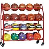 Estante de Pelota Estante de Almacenamiento de Bolas de Garaje para Niños con Ruedas, Carros de Almacenamiento de Deportes Rodantes para Balones de Baloncesto Voleibol Fútbol, 42 Bolas ( Color : Red )