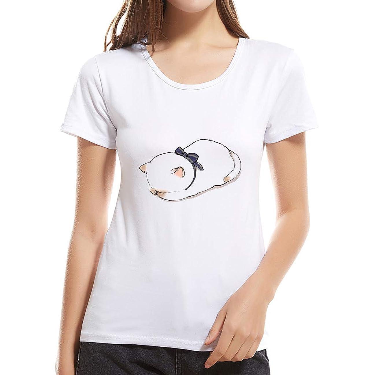 執着テメリティアクションカットソー Joielmal-Tシャツ 男女 上着 クルーネック トップス 着心地さらさらカジュアル シンプル 夏服 超可愛い 猫柄 シャツ 日韓風 インナー 通勤 通学 旅行 日常用