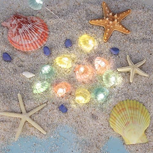 Color Shells Cadena de luces, 10 pies con temática de océano, luces decorativas con USB/funciona con pilas con control remoto para verano, playa…