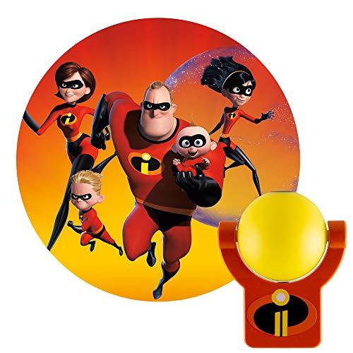 Projectables Incredibles 2 LED Night Light Plug-in, Dusk-to-Dawn Sensor, Elastagirl, Violet, Dash, Jack, Image on Ceiling, Wall, or Floor, Ideal for Bedroom, Nursery, Bathroom, 41247