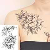 COKOHAPPY Temporary Tattoo Rose Floral Flower Black & White - set of 5 Pcs