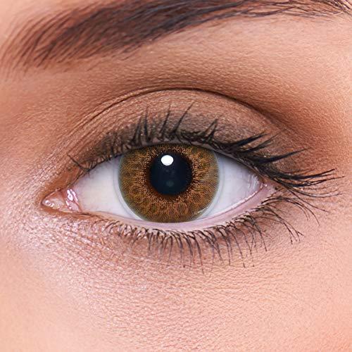 LENZOTICA Sehr stark natürlich deckende braune Kontaktlinsen farbig MARBLE BROWN + Behälter von LENZOTICA I 1 Paar (2 Stück) I DIA 14.00 I ohne Stärke I 0.00 Dioptrien