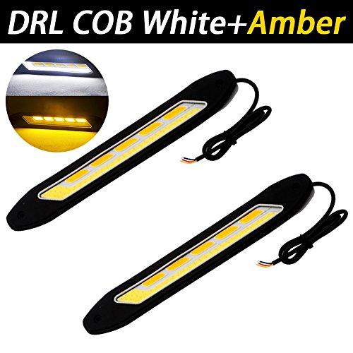 TABEN Feux de circulation diurnes universels en caoutchouc souple et étanche 6 W 12 V avec puce COB - Blanc / ambre