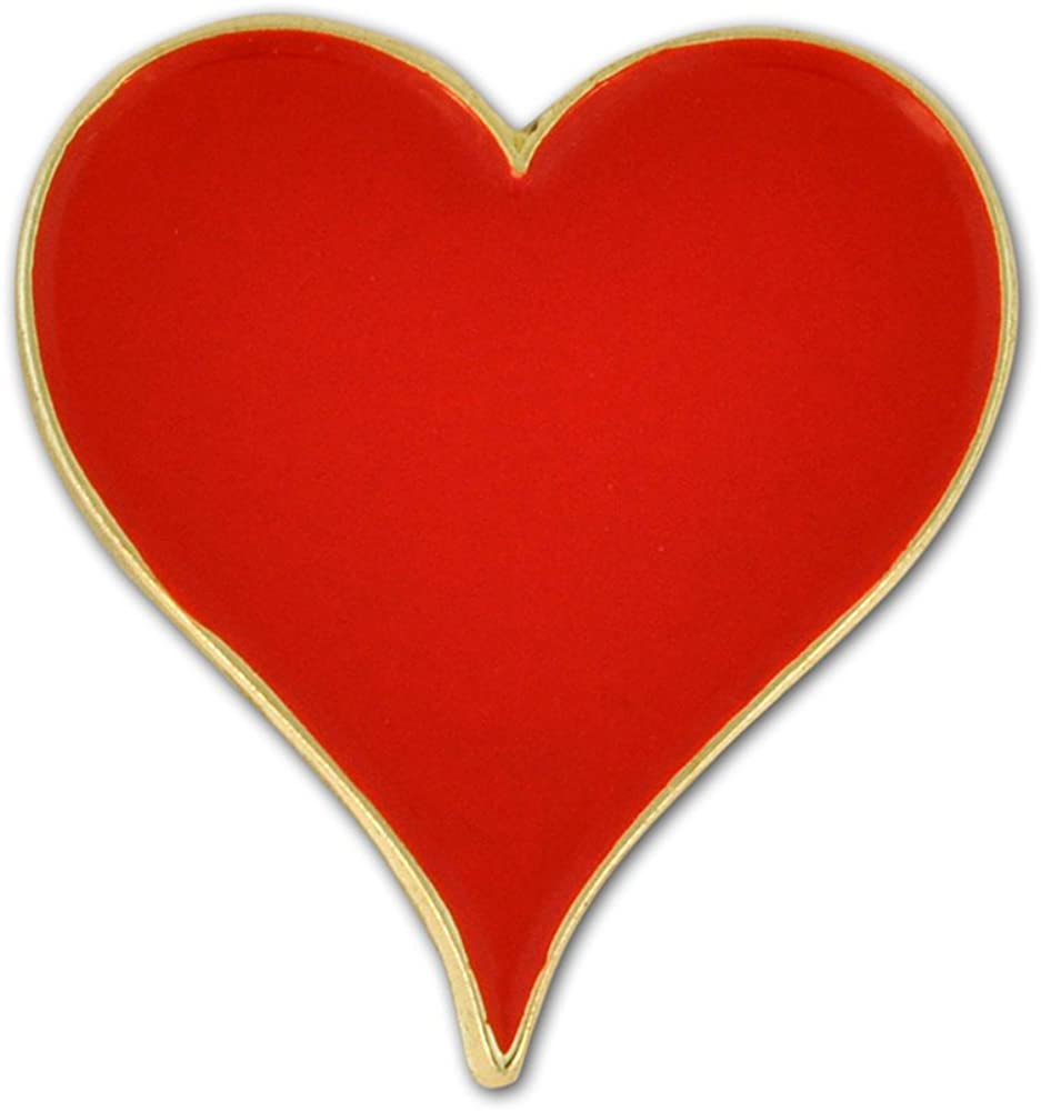 PinMart Playing Cards Red Hearts Suit Enamel Lapel Pin