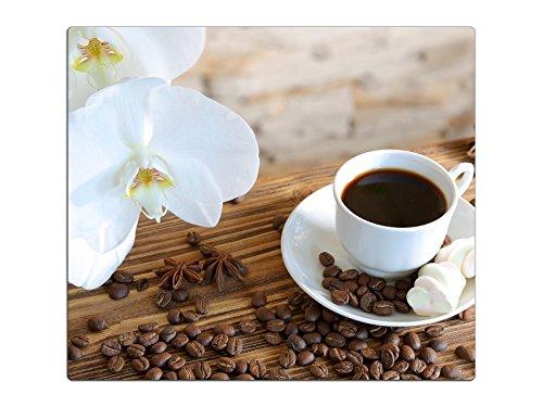 Herdabdeckplatte Schneidebrett Spritzschutz aus Glas, Multi-Talent HA63333630 Orchidee Kaffee Variante Einteilig (1 Panel)