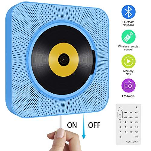 Tragbarer CD Player, wandmontierbar Bluetooth eingebaute HiFi-Lautsprecher für Kinder mit Fernbedienung, FM-Radio, USB mp3 Kopfhöreranschluss, Power an oder aus mit Zugschalter -Blau