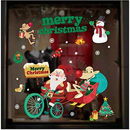 Santa Claus cycling Window Sticker Snowflake Tree Santa Claus Bells Reindeer Xmas Holiday Party Supplies Christmas Window Clings Decal Stickers Snowman Candy Cane for Window Decor Xmas Festive Decorations Clings