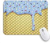 25x30cm Cuadrado Almohadilla para Ratón con Base de Goma Mouse Mat Arte Cono Hielo Ilustración Oblea Esmalte Azul cómoda Almohadilla de Espuma viscoelástica Antideslizante