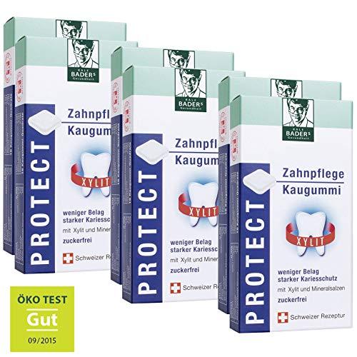 BADERs PROTECT Zahnpflege Kaugummi aus der Apotheke. Weniger Zahnbelag, weißere Zähne. Zuckerfrei mit 100% Xylit. 6 Packungen mit je 20 Kaugummi-Quadraten