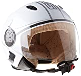 SOXON SP-317 Urban bianco - Retro Scooter piloto Jet con visera Apri Casco - XL