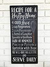 Xusmimo 46x20cm Recipe for A Happy Home Happy Home Recipe Happy Home Sign Recipe Happy Home Happy Marriage Sign Rustic Wood Sign Farmhouse Style Sign 790479