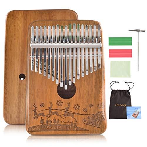 Kalimba Thumb Piano 17 Keys,GECOTY 17 Key Kalimba with Engraved Notes,Portable Mbira Wood Acacia Kalimba,Tuning Hammer and Study Instruction,Finger Piano Instrument Christmas Gift for kids Beginners