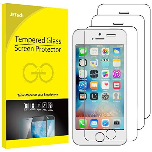 JETech Protector de Pantalla Compatible iPhone SE, iPhone 5s, iPhone 5 y iPhone 5c, Vidrio Templado, 3 Unidades