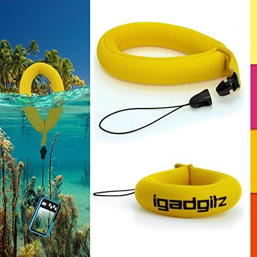 igadgitz 1 Pack Gelb Wasserfestes Schwimmende Handschlaufe Armband Geeignet für Nikon Coolpix AW110, AW100 & S31 Kameras