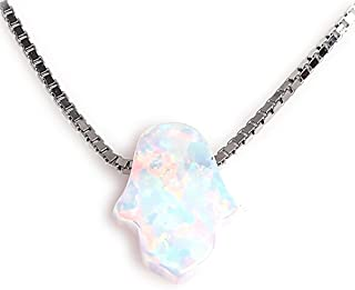 Hamsa Hand Pendant Necklace Sterling Silver Created Fire Opal Adjustable Cable Box Chain in 16