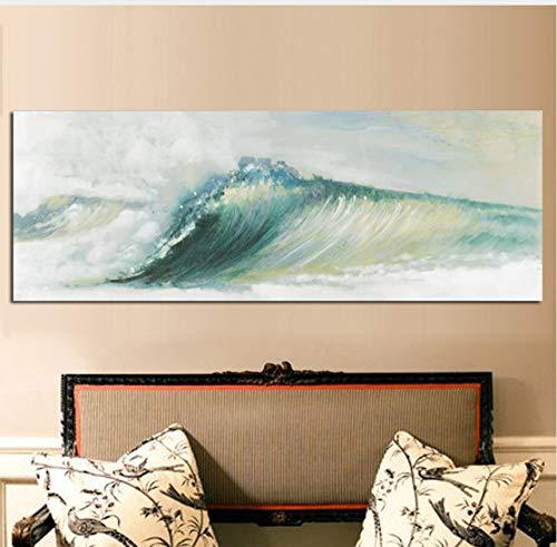 Verde Océano Mar Olas Lienzo Paisaje Marino Pintura Cuadros Abstracto Moderno Cartel E Impresión Paisaje De La Pared Imagen De Pared Para La Sala De Estar 50X150 Cm