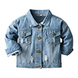 Toddler Kids Baby Boys Girls Denim Jacket Long Sleeve Button Down Jeans Coat Ripped Distressed Trucker Jackets Cowboy Overcoat Basic Casual Outwear with Pockets Blue 01 6-12 Months