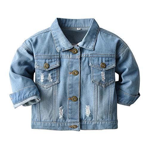 IBAKOM Kleinkind Baby Jungen Jeansjacke Kinder Mädchen Jeans Jacke Mantel Kapuze/Reversals Langarm Blau Denim Tops Button Down Cowboy FrüHling Herbst Casual Outwear Blau 1 2-3 Jahre