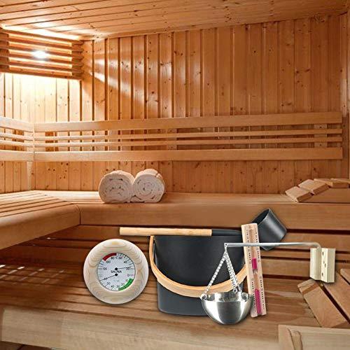 Goodtimera 7L Saunaset Komplettset Mit Langstieligem Löffel, Saunazubehör Sauna Aromatherapieöl Cup Kit Sanduhr Thermometer/Hygrometer Wonderful