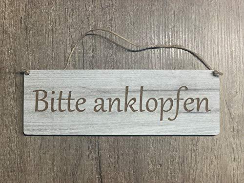 Türschild Deko schild Landhaus Vintage Shabby Retro Bitte anklopfen Dekoschild Tafel Bild Wandbild Deko Dekoschild