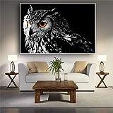 wZUN Art Mural Peinture sur Toile Noir et Blanc Hibou Affiches et Impressions Photos d'animaux Nordiques pour Salon décoration scandinave 50x70 cm