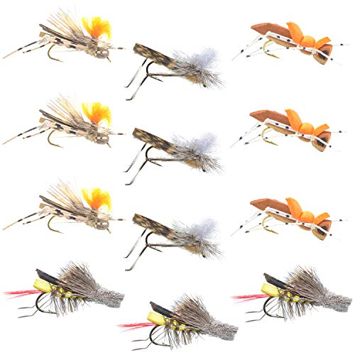 Trout Fly Assortment - Four Best Grasshopper Trout Dry Fly Fishing Flies Collection - 1 Dozen Flies - 4 Hopper Fly Patterns