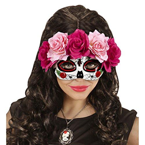 La Catrina Maske mit Rosen Augemaske Sugar Skull pink-rot Mexikanische Todesmaske Dia de los Muertos Halloweenmaske Totenmaske Gesichtsmaske Totenkopfmaske Tag der Toten