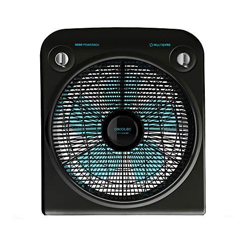 Cecotec Ventilador de Suelo EnergySilence 6000 PowerBox Black, 50 W, 5 aspas, 3 velocidades, Motor de Cobre, Regilla Rotatoria, Temporizador de 2h