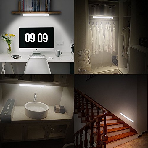[Upgraded]VIBELITE 9 LED Motion Sensing Closet Lights, 2 Pack DIY Stick-on Anywhere Portable 9-LED Wireless Cabinet Night/Stairs/Step Light Bar with 360° Rotated Sensor (Battery Operated)