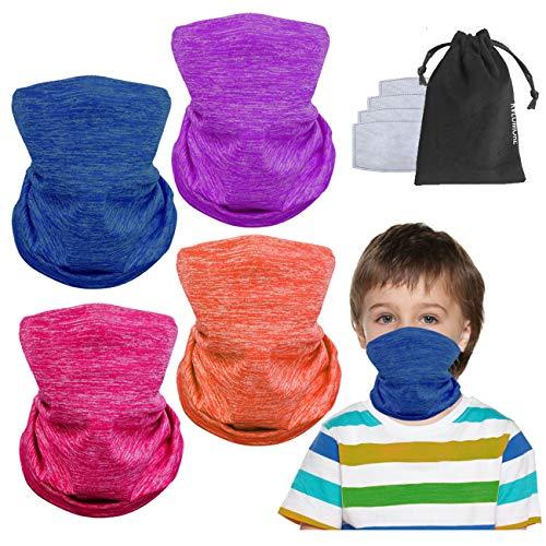 4 Pcs Kids Face Balaclava Neck Gaiter Masks Filter Adjustable Half Neck Scaf Protective Shield-Cover Gifts For Children.