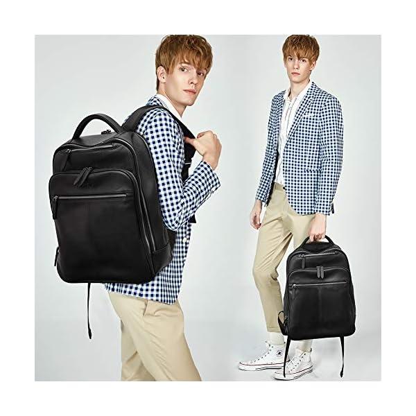 CLUCI Genuine Leather Backpack for Men Slim 15.6 Inch Laptop Large Capacity Business Travel Bag Black 2