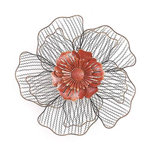 JSBVM Metall Wandskulptur | Design Wanddeko | Wandbild modern | Blume,Rot